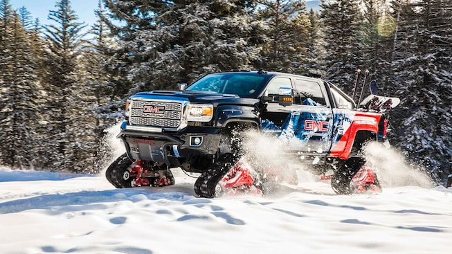 Image of special edition 2018 GMC Sierra HD for deep snow travel.