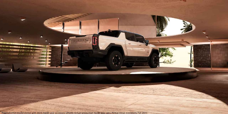 GMC HUMMER EV Electric truck in one-of-a-kind garage