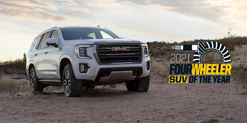 2021 GMC Yukon AT4 Full Size SUV: Front Three Quarter View Passenger Side