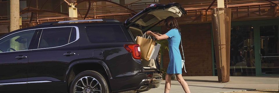 GMC Acadia Denali Mid-Size SUV: Loading Shopping Bags in Trunk