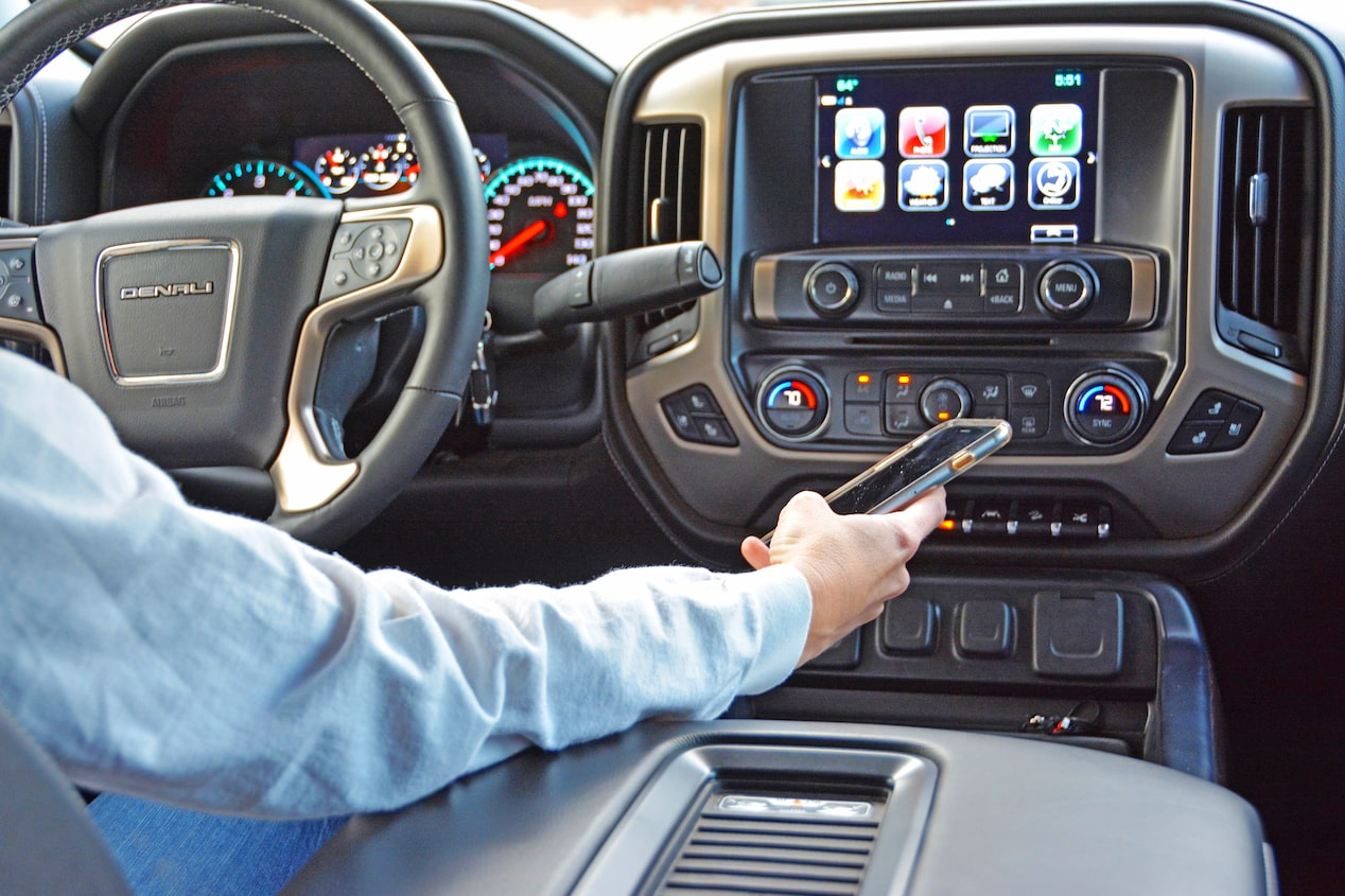 GMC life girls and trucks interior phone.