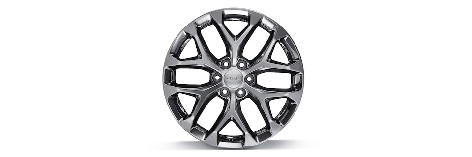 "GMC 22"" 6-Spoke Chrome Wheel Close-Up"