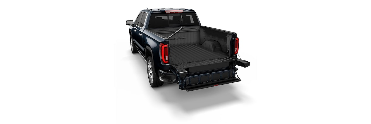 The 2019 Sierra truck's inner gate folds into a large step for easy entry and exit from the box.