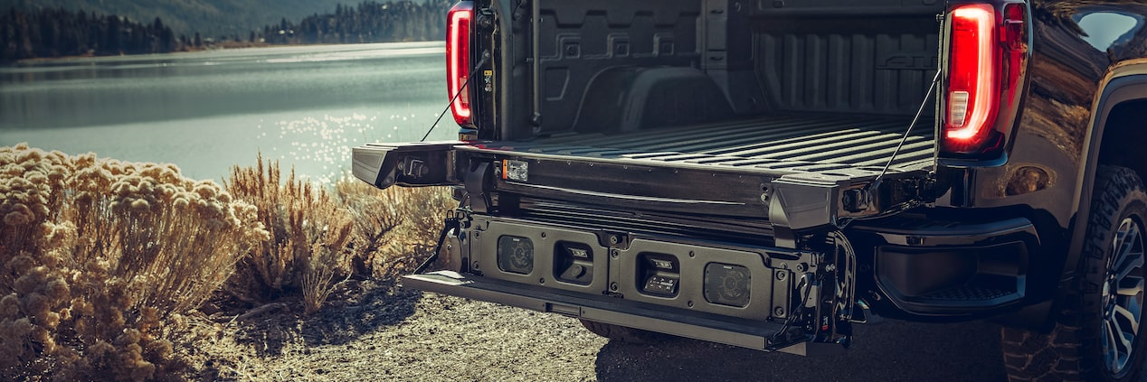 Durable weatherproof KICKER MultiPro Tailgate Audio System on the go