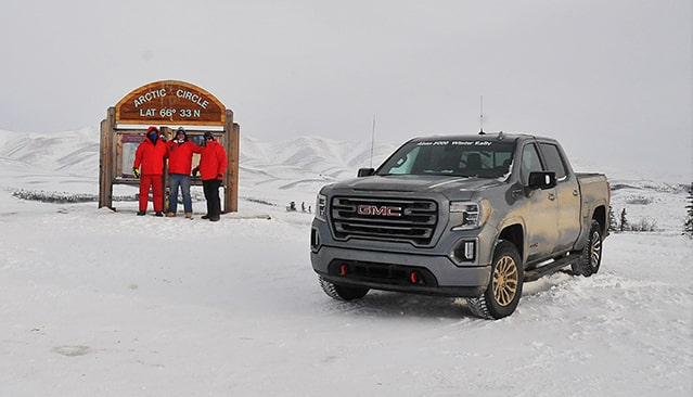 GMC Sierra AT4 off-road truck and GMC Professional Grade Rally Team at the Arctic Circle for the Alcan 5000