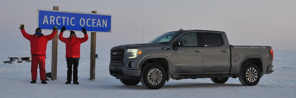 GMC Professional Grade Rally Team at the Arctic Ocean for the Alcan 5000