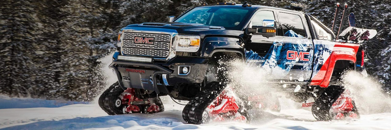 Image of the concept truck in the Vail mountains featured for the GMC Life article.