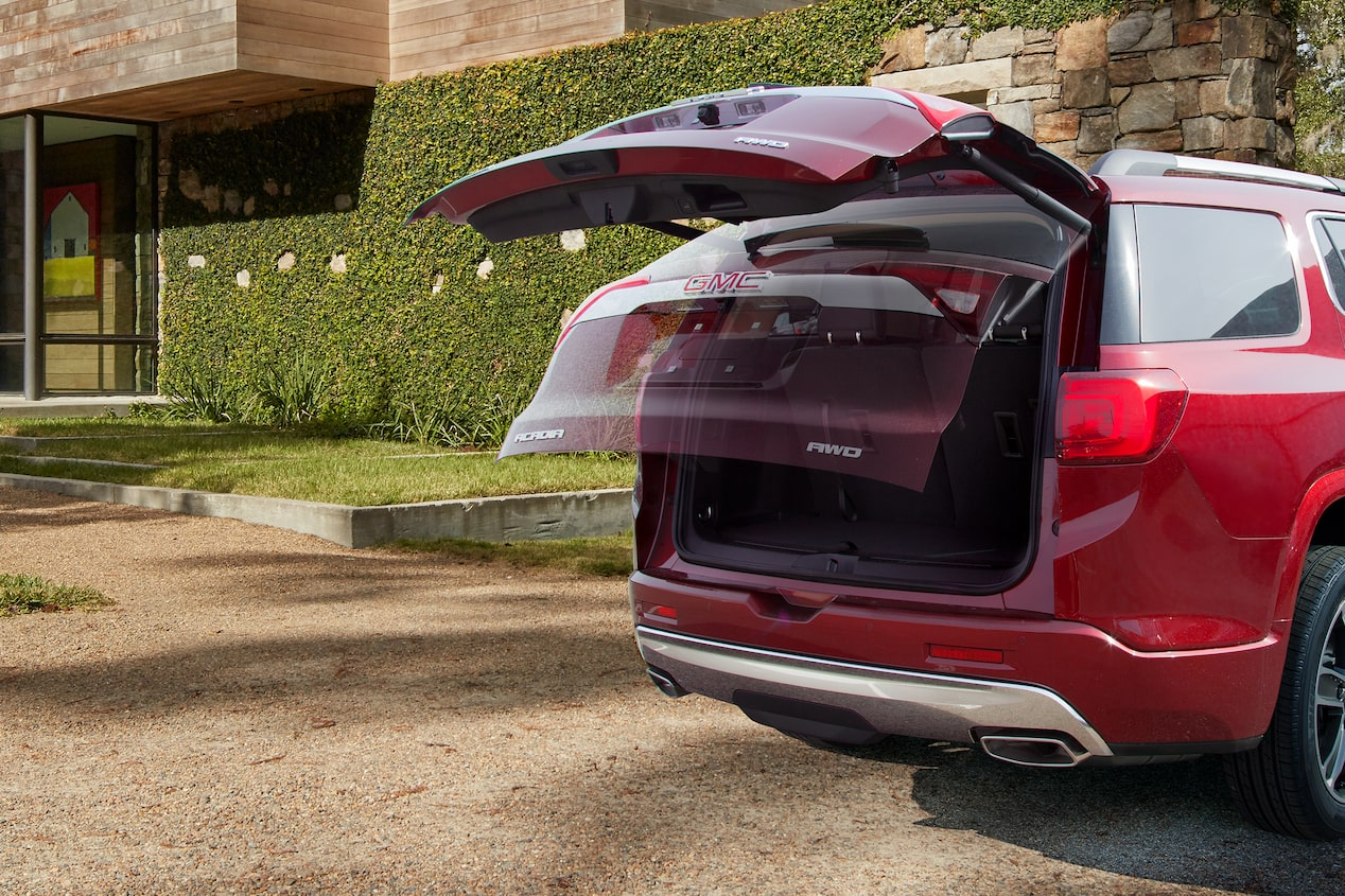 GMC life acadia family focused features power liftgate.
