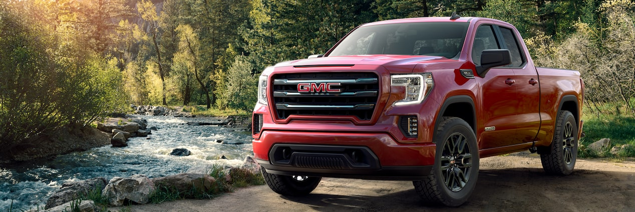 Masthead image showing the 2019 GMC Sierra 1500 Elevation Edition pickup truck in its natural habitat.