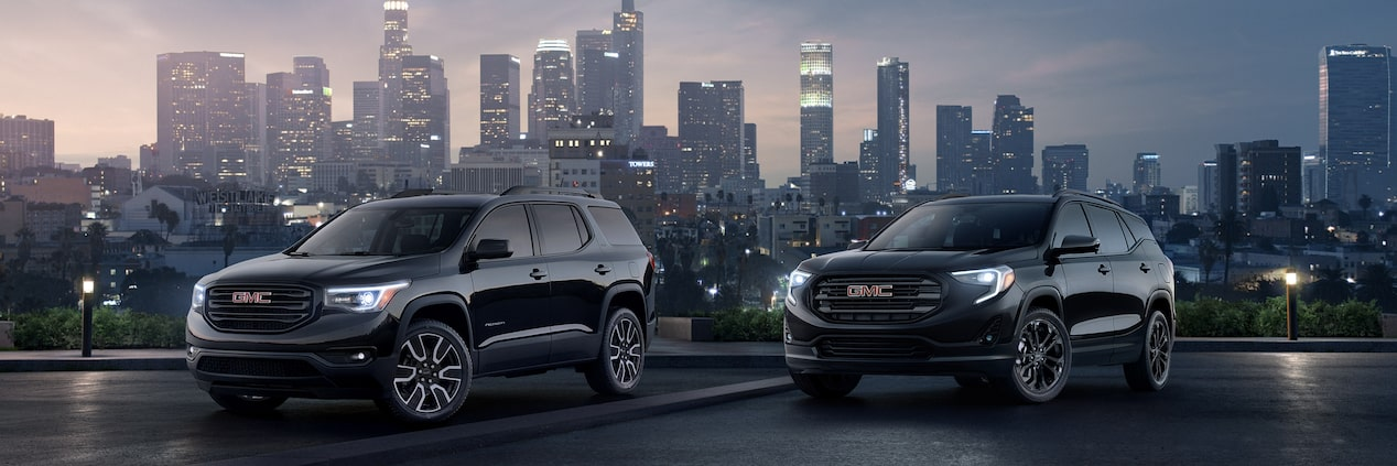 Masthead image featuring the 2018 GMC Terrain and Acadia Black Edition SUVs.