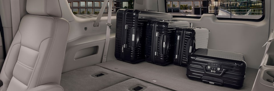 GMC Yukon XL Denali Third Row Folded Flat with Cargo Inside