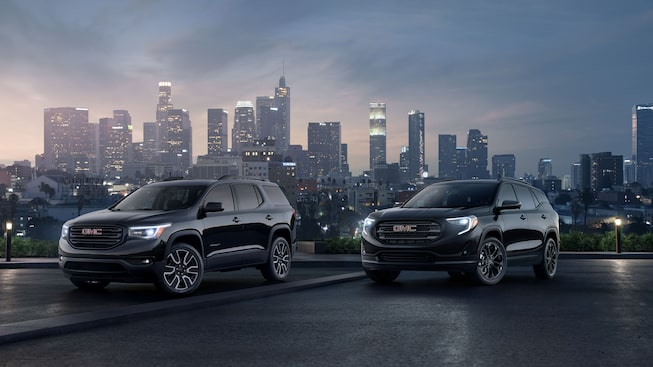 Image featuring the 2018 GMC Terrain and Acadia Black Edition SUVs.