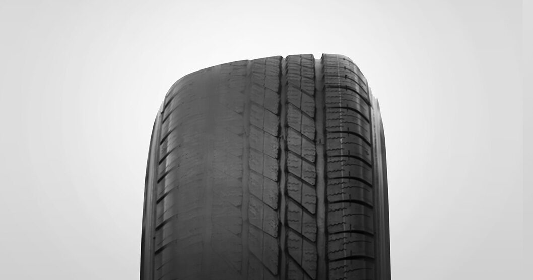 Tire camber wear example from GMC Certified Service