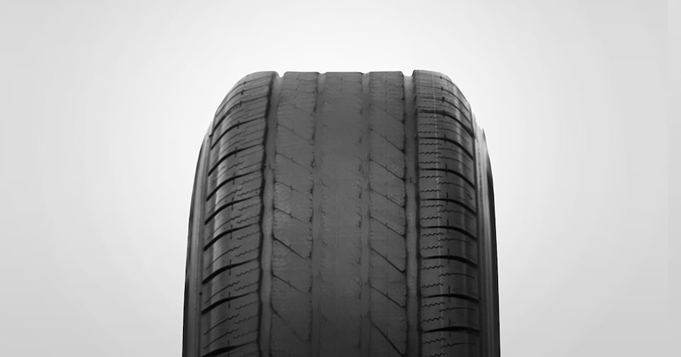 Overinflated tire wear example from GMC Certified Service