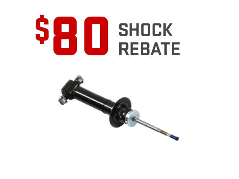 Offer graphic - $80 shock rebate on the purchase of four GM Genuine Parts shocks