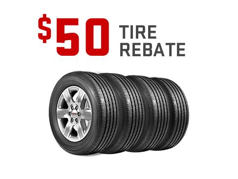 $50 rebate on a set of four tires from GMC Certified Service.