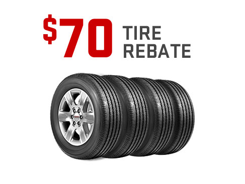 $70 rebate on a set of four tires from GMC Certified Service.