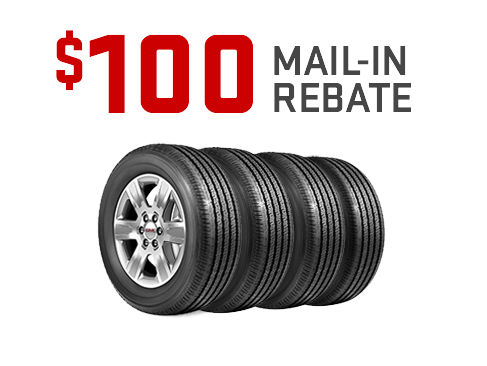 GMC Certified Service $100 mail-in rebate on set of 4 tires