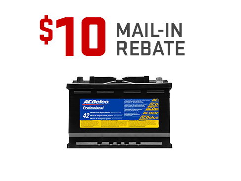 $10 mail-in rebate on any ACDelco Automotive Battery from GMC Certified Service.