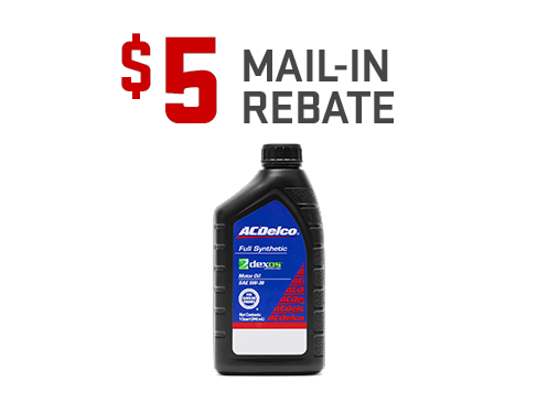 Earn a $5 mail-in rebate on the purchase of an ACDelco dexos Oil Change from GMC Certified Service. Offer ends 1/31/20.