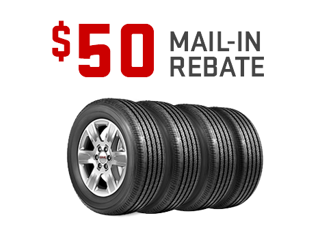 Earn a $50 mail-in-rebate on a set of 4 BFGoodrich, Dunlop, and General Tires from GMC Certified Service. Offer ends 11/30/19.