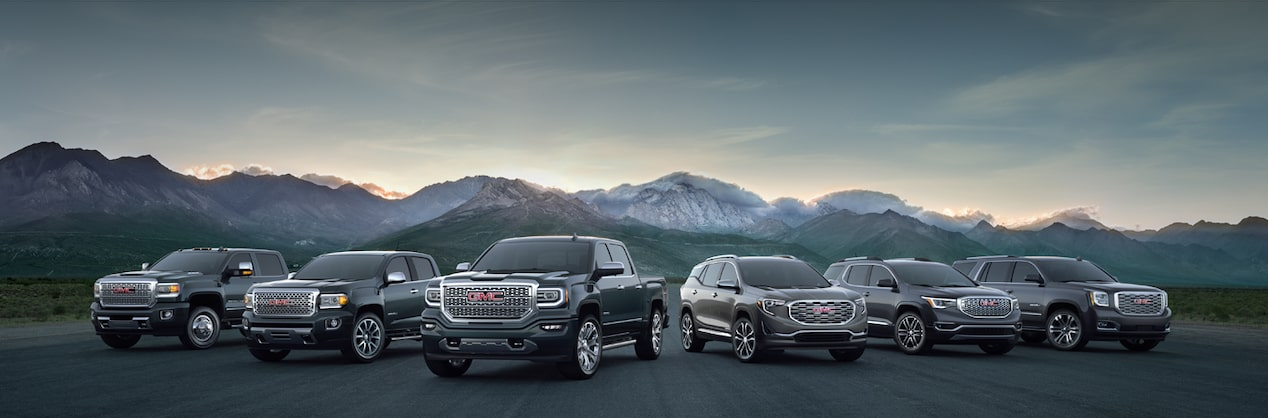 Masthead image showing the lineup of GMC vehicles.