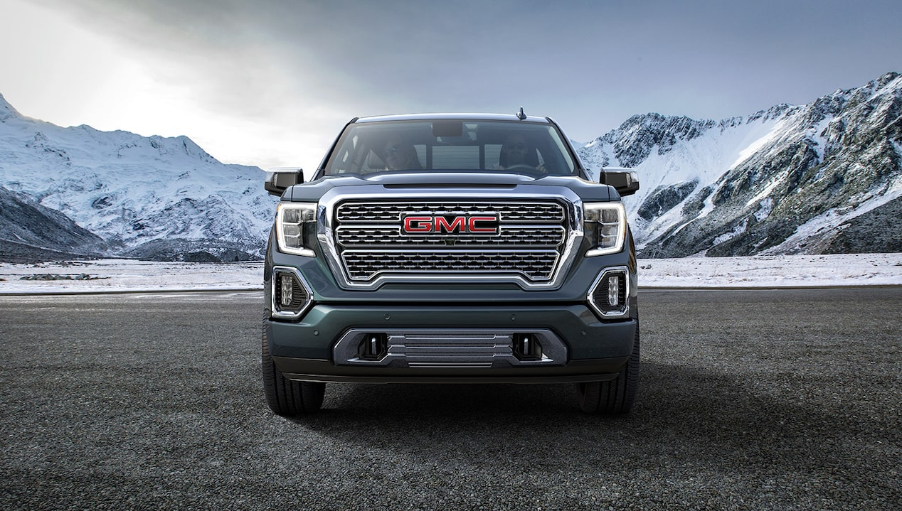 Front view of the next generation 2019 GMC Sierra 1500 light-duty truck.