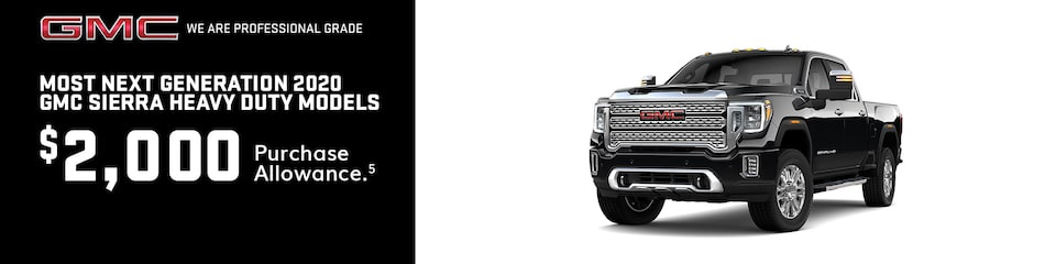 GMC Current Offers: 2018/2019 Sierra HD $2,000 Purchase Allowance