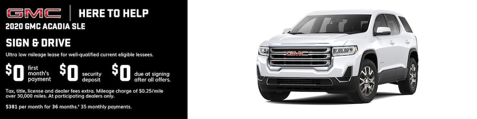 GMC Here to Help | Most 2020 GMC Acadia Models: 0% APR for 84 Months for very well qualified buyers