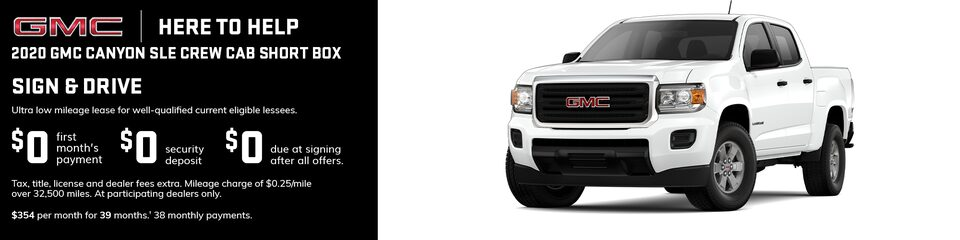 GMC Here to Help | Most 2020 GMC Canyon Models: 0% APR for 84 Months for very well qualified buyers