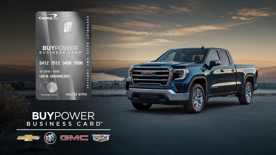 GMC Sierra and Capital One BuyPower Business Card with Chevy, Buick, GMC and Cadillac Logos