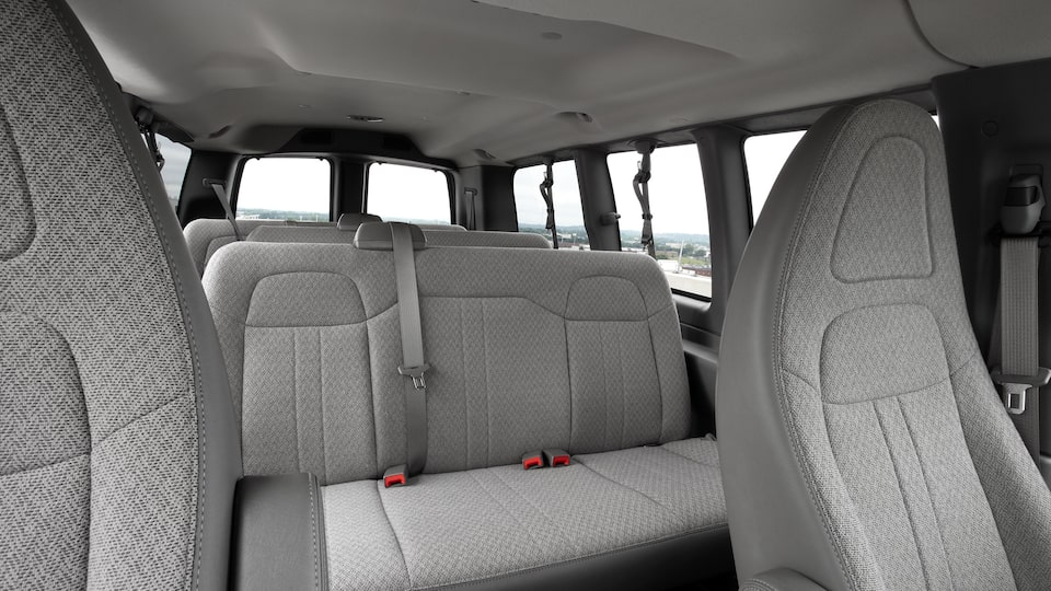 2020 GMC Savana Passenger Van: interior cabin with seating up to 15 people