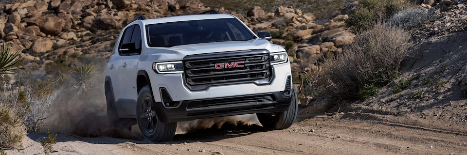 2020 GMC Acadia AT4 Mid-Size SUV: driving on a dirt road