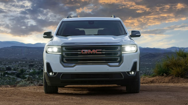 2020 GMC Acadia AT4 Mid-Size SUV: grille & LED headlights