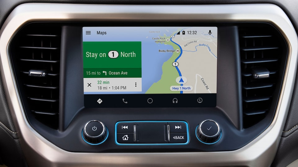 2020 GMC Acadia Denali Luxury SUV: android auto system with google maps navigation