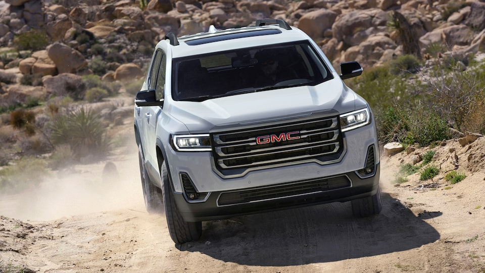 2020 GMC Acadia AT4 Mid-Size SUV: driving on a rocky terrain
