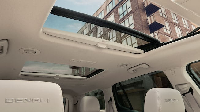 2020 GMC Acadia Denali Luxury SUV: interior sunroof view