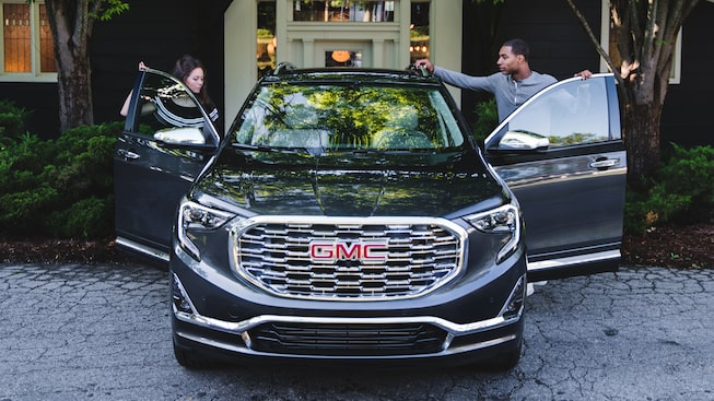 2020 GMC Terrain Denali exterior front view with front doors open