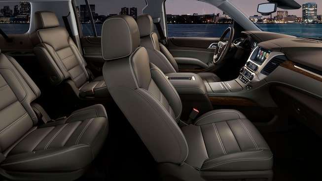 2020 GMC Yukon Denali full size SUV premium interior image for model details page
