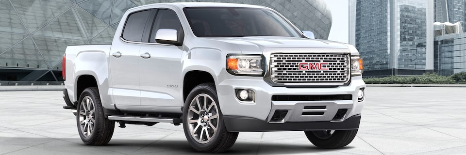 2020 GMC Canyon Denali Luxury Small Truck Front Angle Building Header Image for Exterior Features Page