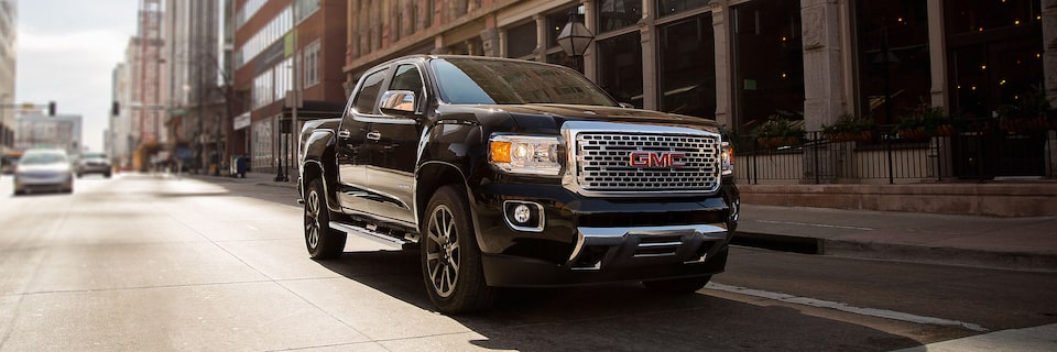 2020 GMC Canyon Denali Luxury Small Pickup Truck Front Angle Image for Safety Features Page