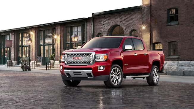 2020 GMC Canyon Denali Luxury Compact Pickup Truck Exterior Front Angle Shot For Gallery Brick Road