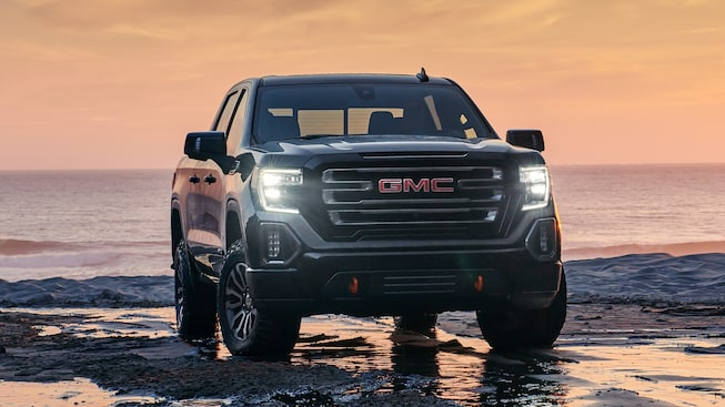 2020 GMC Sierra AT4 Off Road Truck in front of ocean view background