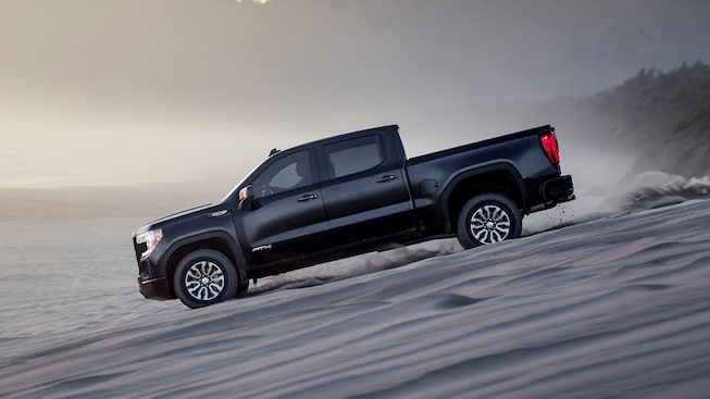 2020 Sierra AT4 Off Road Truck: driving down a hill