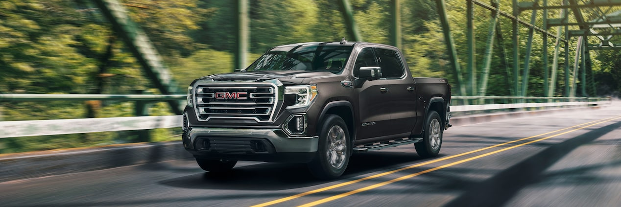 2020 GMC Sierra 1500 Pickup Truck: scenic driving on a bridge