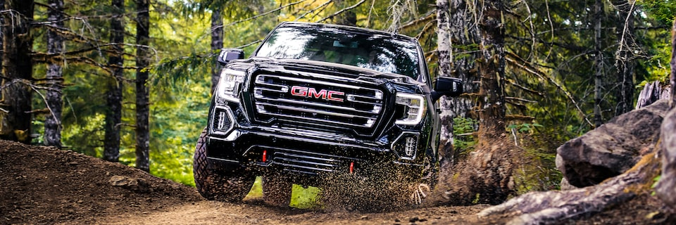 2020 Sierra AT4 Off Road Truck: driving in the woods