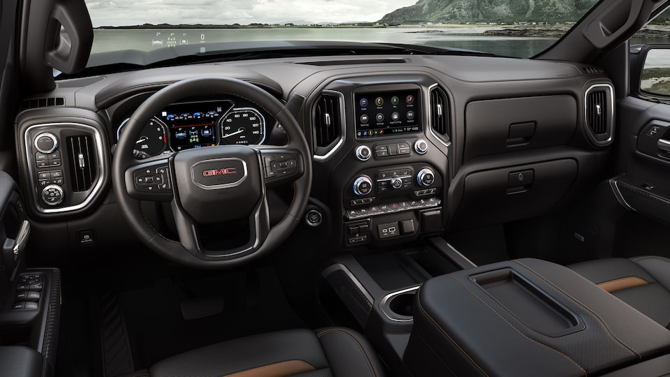 2020 GMC Sierra AT4 Off Road Truck: steering wheel & infotainment system