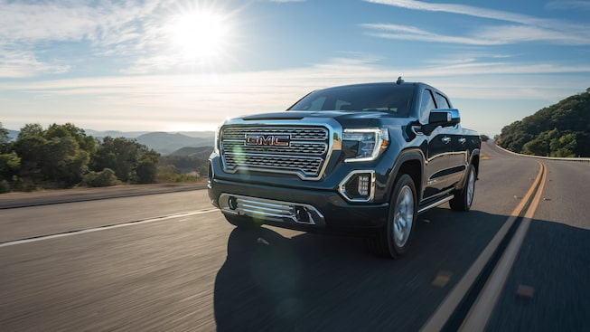2020 GMC Sierra 1500 Denali Luxury Pickup Truck Capability Front Angle Action Shot