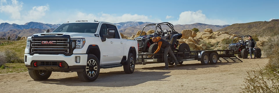 2020 GMC Sierra HD AT4 Off-Road Truck Side Exterior Towing Trailer