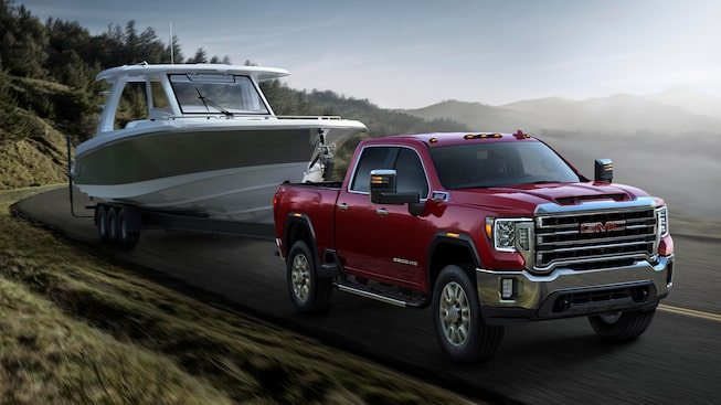 2020 GMC Sierra Heavy Duty Pickup Truck: towing a boat